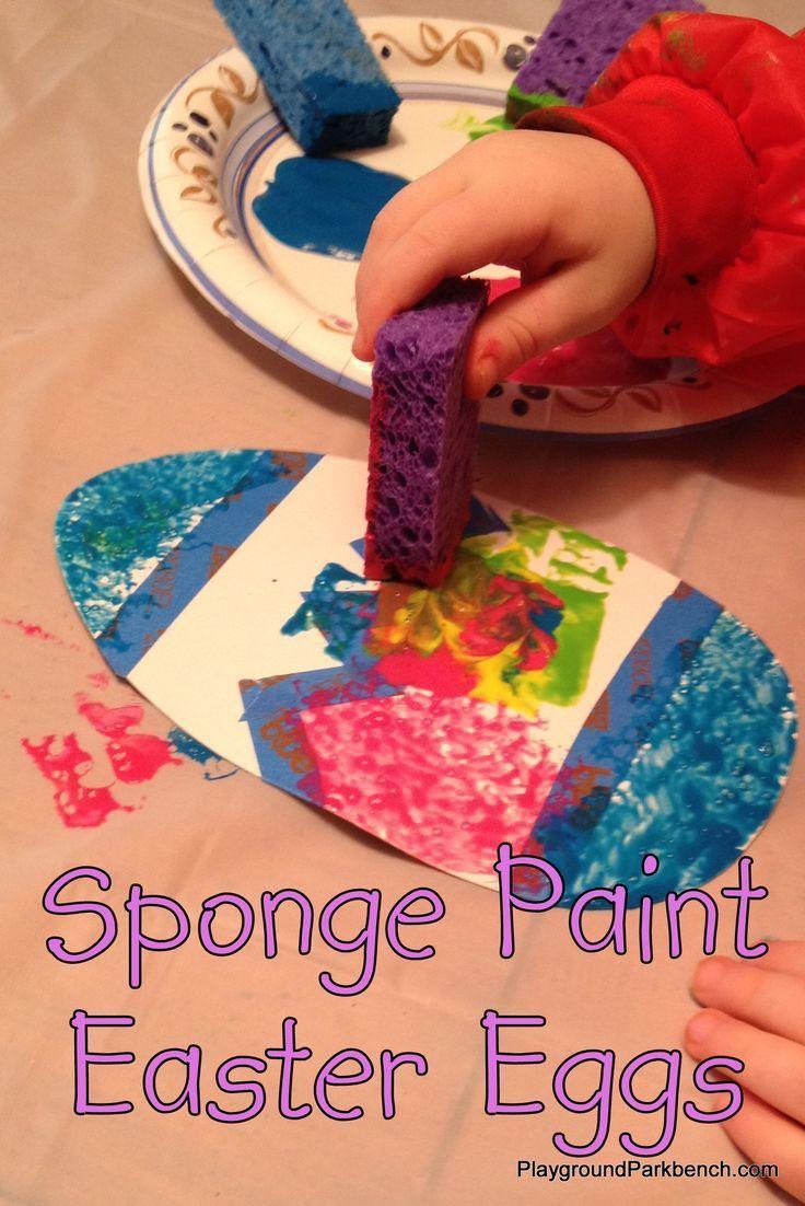 Sponge paint easter eggs