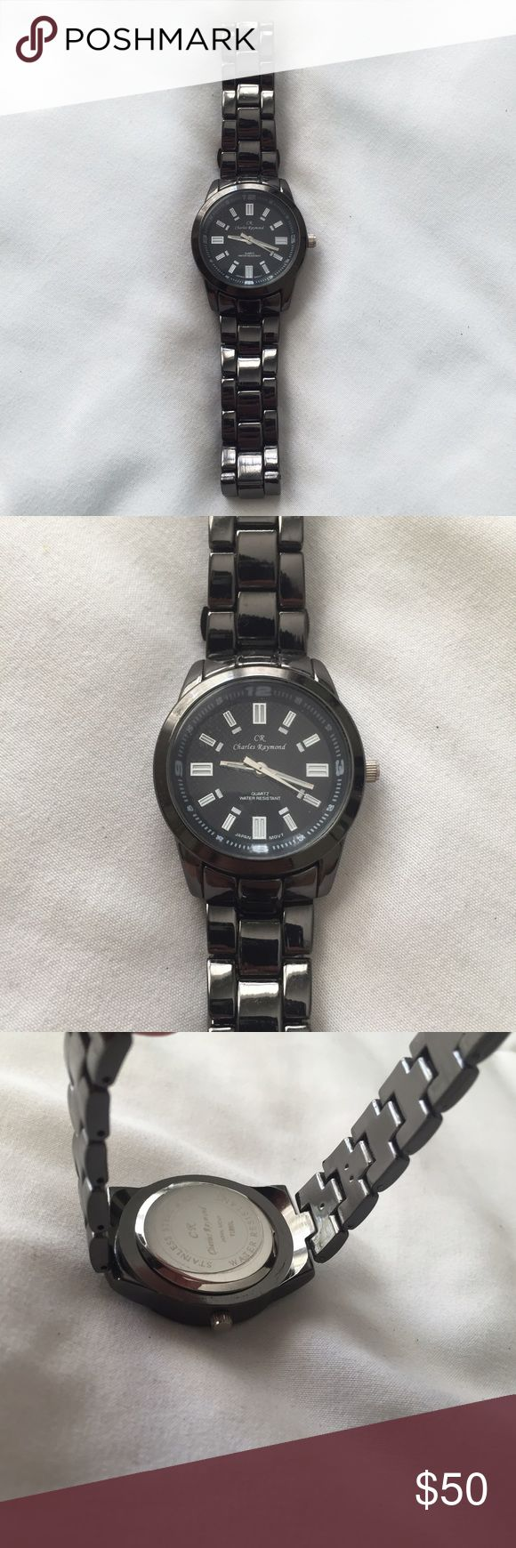 Charles Raymond Watch Dark grey Charles Raymond watch. Water resistant. Never been worn in basically perfect condition (I didn't find any flaws, still even has the plastic sticker on the back). Needs a new battery. OFFERS WELCOMED. Charles Raymond Accessories Watches