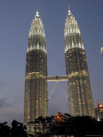 Petronas Twin Towers, One of Tallest Buildings in World, at Twilight, Kuala Lumpur, Malaysia