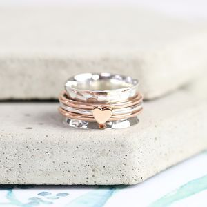 Lisa Angel Sterling Silver And Rose Gold Heart Spinning Ring