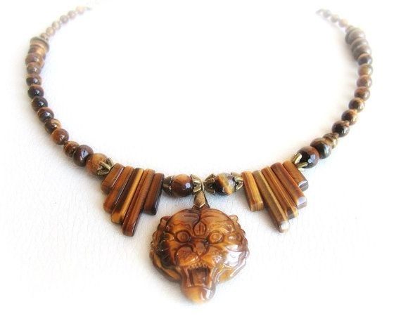 Tiger eye necklace tiger necklace carved by MalinaCapricciosa