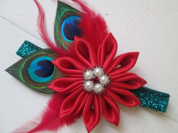 Red Christmas Headband Red Poinsettia by NakedOrchidGarters