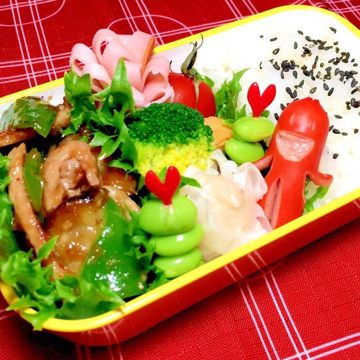 お弁当 ❇︎茄子・ピーマン・豚肉の甘辛炒め ❇︎海老シュウマイ ❇︎卵焼き・ウインナー ❇︎トマト・枝豆・ハム・ブロッコリー ❇︎ご飯(ごま塩)