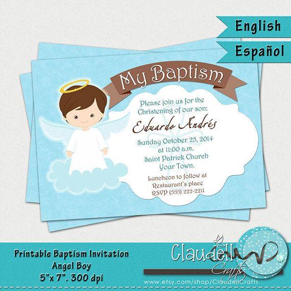Baptism Angel Boy Printable Invitation / Card  by ClaudellCrafts