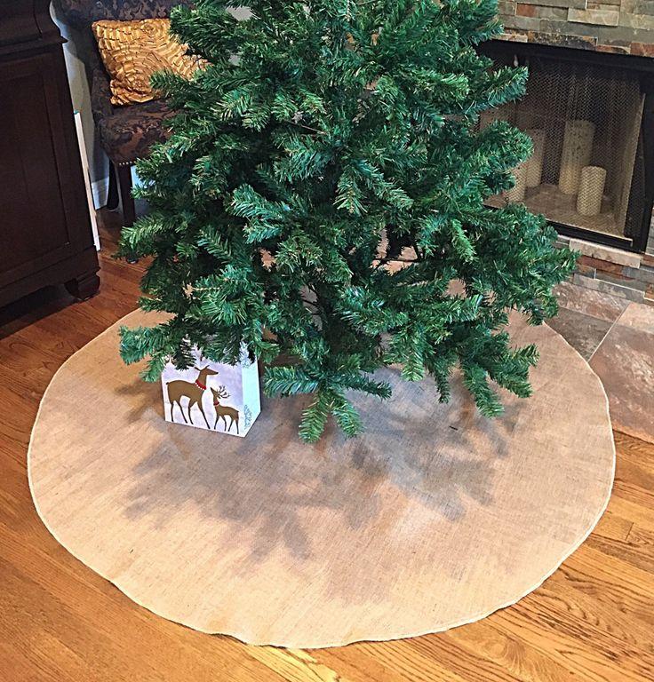 Christmas tree skirt, Burlap Christmas tree skirt, tree skirt, christmas decor, tree skirt, jute burlap, 60 inches diameter, rustic decor by FantasyFabricDesigns on Etsy