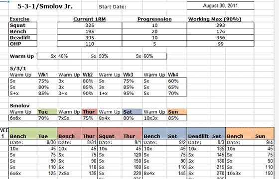 Smolov jr 531 excel spreadsheet fitness pinterest for 531 program template