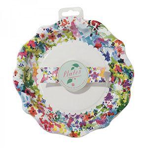 Çiçek Desenli Kağıt Tabaklar - Doğum Günü Süsleri | Nice Yaşlara