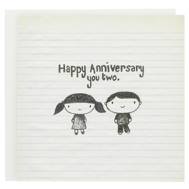 Happy anniversary card with cute hand drawn couple and