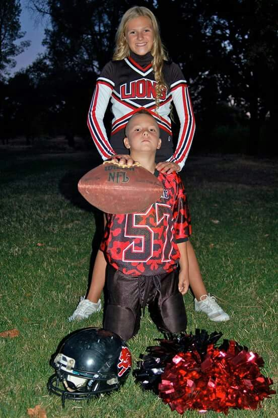 Brother and sister pose #football #cheer #family #brothersister #friends