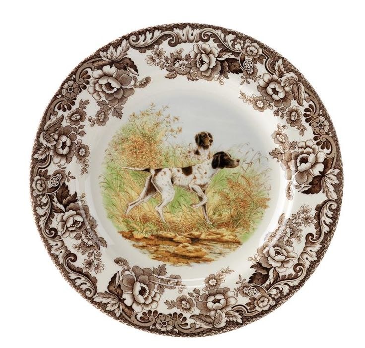 """Spode Woodland Hunting Dogs:  Flat Coated Pointer Plate 8"""" $22.05"""