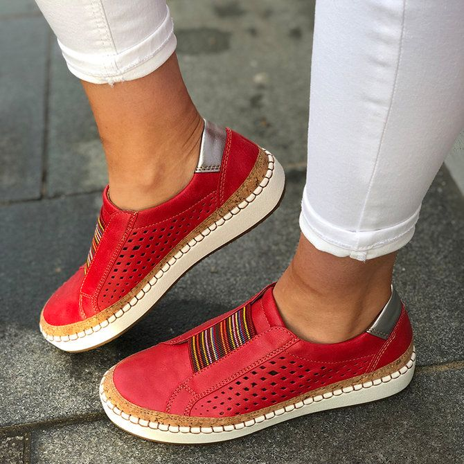 Women/'s PU Leather Hollow Out Round Toes Shoes Lace Up Wedge Breathable Sneakers