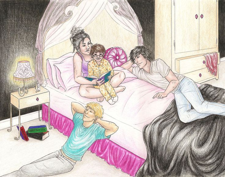 Isabelle, Jace, and Alec reading to Max. Loving the HP books under the nightstand.