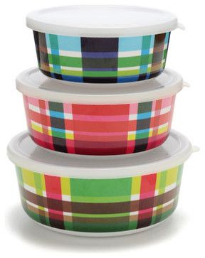 Multiplaid Storage Container Set contemporary food containers and storage