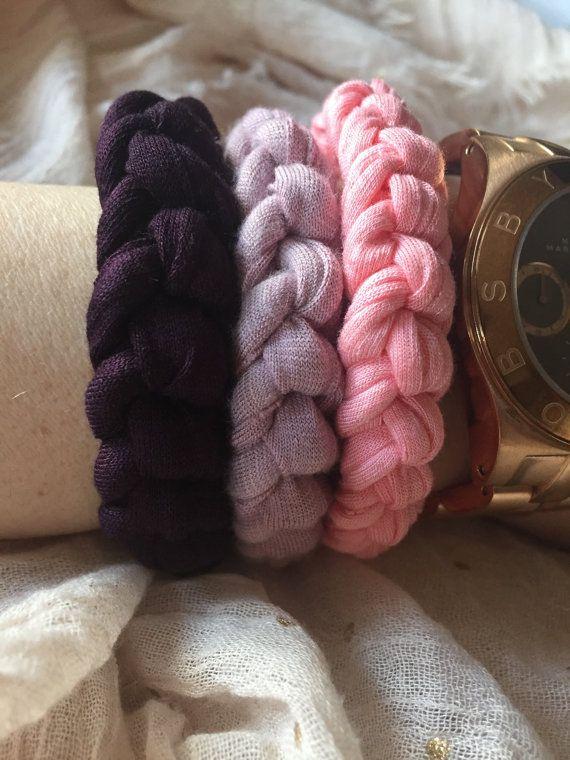 recycled t-shirt bracelet pink light purple or por myladiesandme