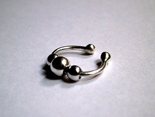 Non-pierced Clip on Ball 925 Sterling Silver Ear Cuff or Fake Nose Ring or Lip Ring Cuff Konstantis Jewelry http://www.amazon.com/dp/B00ZFTGVLS/ref=cm_sw_r_pi_dp_FkdJvb15R40ZP