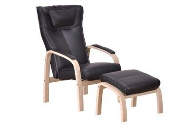 Relax hvilestol stuffed armchair black leather oak with footstool danish design hjort knudsen www.helsetmobler.no