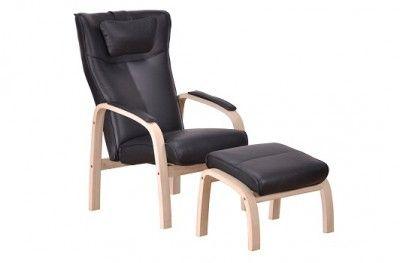 Relax hvilestol stuffed armchair black leather oak with footstool danish design hjort knudsen www.helsetmobler.no