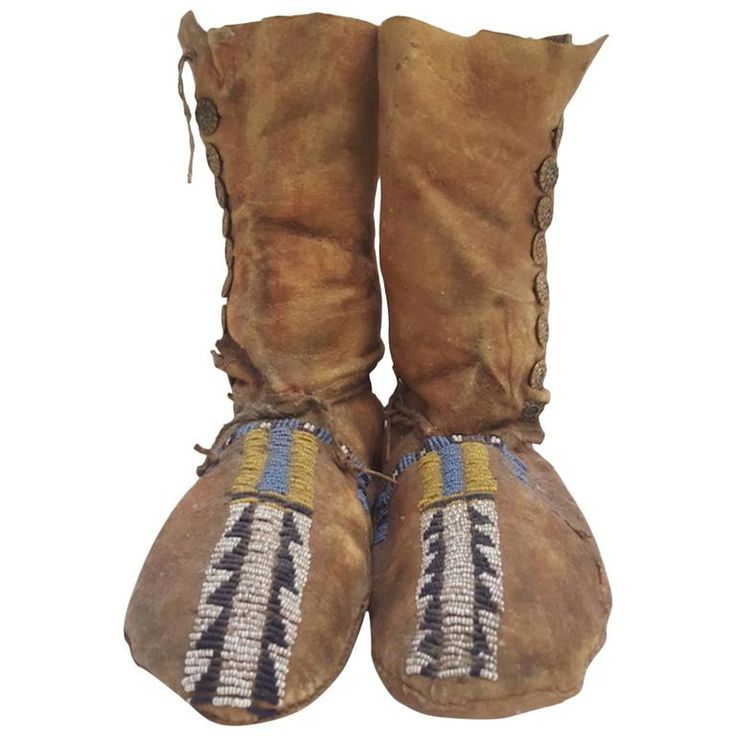 19th Century Plains Beaded Moccasins | From a unique collection of antique and modern native-american-objects at https://www.1stdibs.com/furniture/folk-art/native-american-objects/
