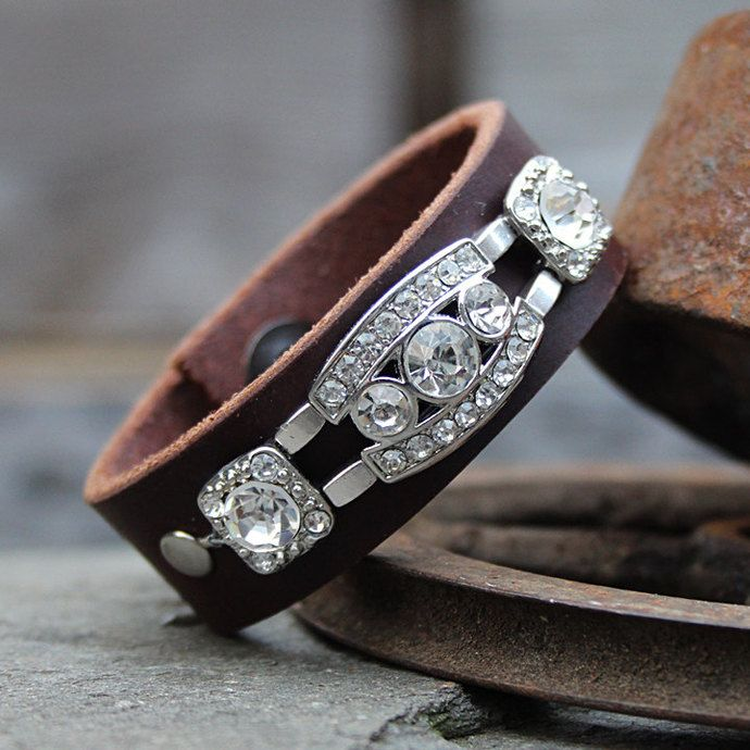 Crystal Brown Leather Bracelet by prettypatina, $25.00 USD