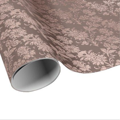 Pink Rose Gold Floral Cottage Damask Bronze Powder Wrapping Paper - pink gifts style ideas cyo unique
