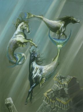 """Hippocampi.  In Greek mythology, a half-horse, half-fish creature.""   What I wanna know, which one's Rainbow? :D"