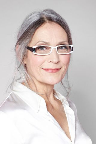Eyeglass Frames For Gray Hair : Silver hair and b/w glasses. Sharp Ageless Grace, Beauty ...