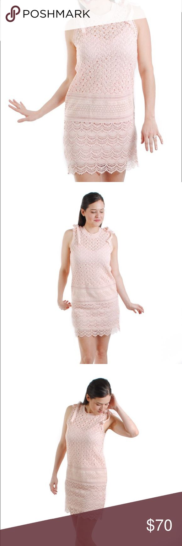 Angela Dress First stop: brunch! Stand out from the brunch crowd with this blush crochet stunner. Gear up for any spring special occasion with the tres chic Angela Dress!  100% cotton crochet and lining made from 100% polyester.  Blush crochet dress with separate lining.  size + fit: Model is 5ft 6in and is wearing a size small. Fit is true to size and comfortable to sit in. Dresses