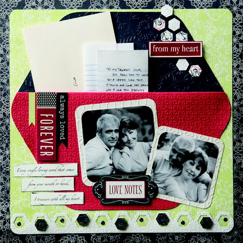 Scrapbook Layout Idea using the Jumbo Hexagon and P.S. I Love You from Creative Memories. Available through February 2013, while supplies last!