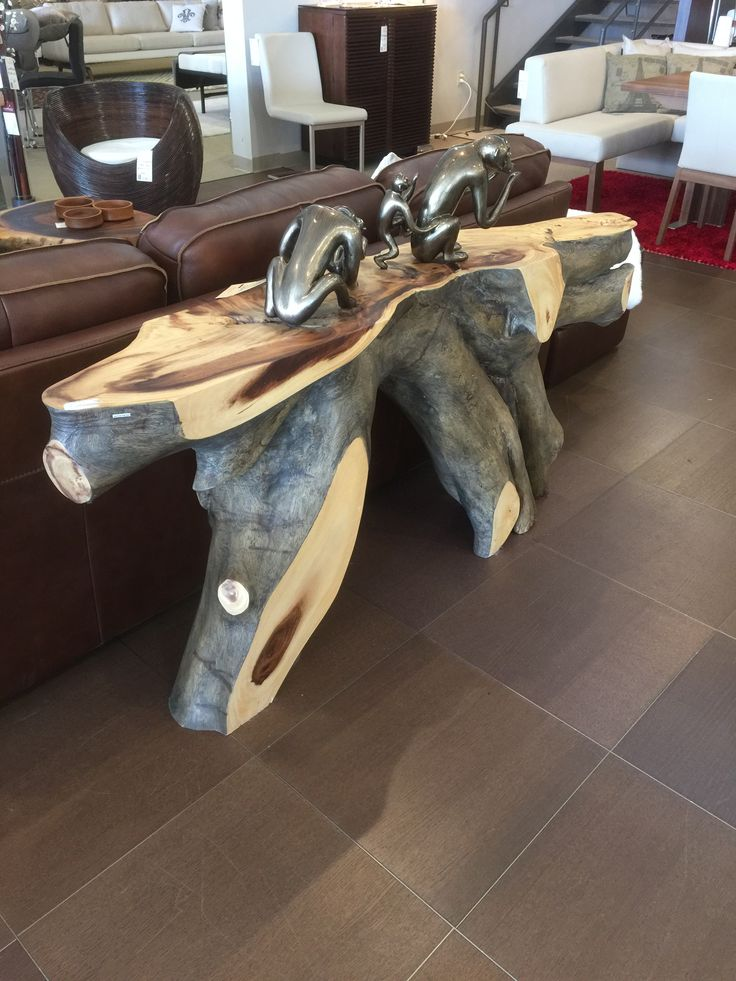 Natural Cut Wood Console Scandinavia Inc New Orleans Metairie Louisiana Contemporary Furniture