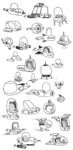Sketchbook spaceships by John Martz, via Flickr