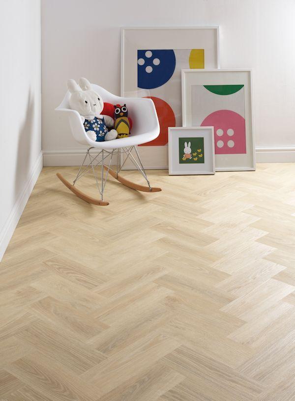 Scandi style kids room featuring Cavalio Conceptline Nordic Ash vinyl flooring tiles in herringbone pattern