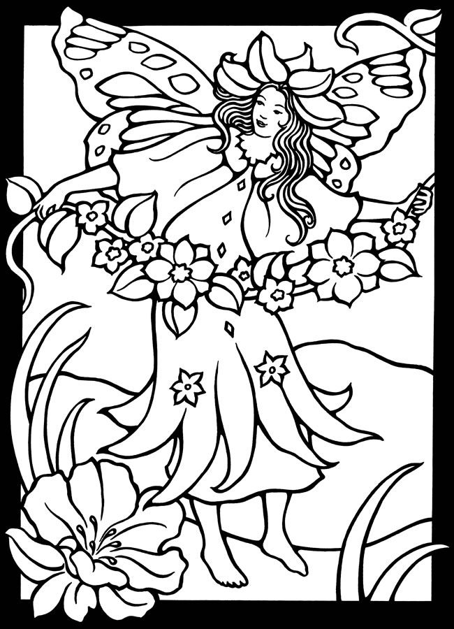 dover coloring pages printable - magic garden fairies stained glass coloring book dover