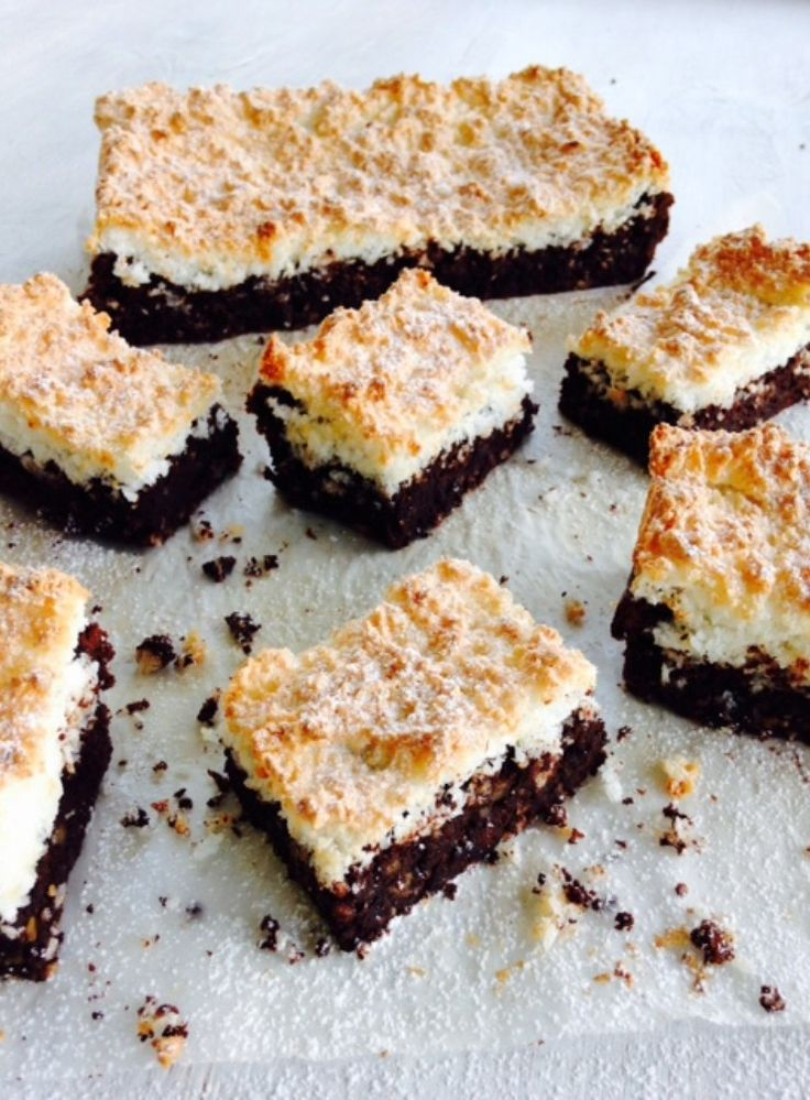 Claire Aldous shares a nostalgia-inducing recipe for a rich dark chocolate brownie with a delicious coconut topping.