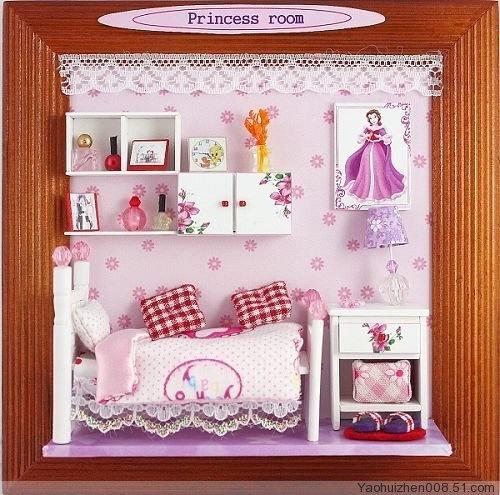 """Niedliches 3D Wandbild """"Princess Room"""" DEKO-Kreativ Bastelset für große und kleine Prinzessinnen mit Bett, Kommode, Sideboard, Flacons uvm von Hongda, http://www.amazon.de/gp/product/B008XJ5UXW/ref=cm_sw_r_pi_alp_y9w3qb053ZQ6J"""