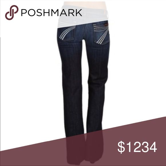 ISO 7 for all mankind dojo ISO perfer the dark wash with white stiching midrise if that's possible usually a size 28 that's my size in rock revival and miss me jeans not sure the fitting of these as I've never owned a pair but would love a pair and also with the inseam of 34 or longer show me what ya got ladies and help me out ❤️😊😊😊 7 For All Mankind Jeans Flare & Wide Leg