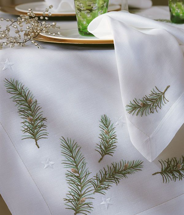 Beautiful embroidered fir branches.