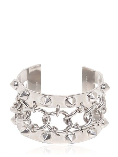 ALEXANDER MCQUEEN - STUDS AND CHAIN METAL BRACELET - LUISAVIAROMA - LUXURY SHOPPING WORLDWIDE SHIPPING - FLORENCE