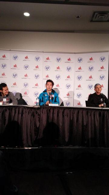 Patrick Chan(Canada) Daisuke Murakami(JAPAN) and Adam Rippon(USA) : Skate Canada 2015