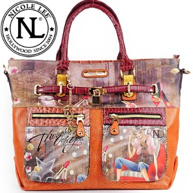Click Here and Buy it On Amazon.com $59.99 Amazon.com: Nicole Lee Claire Blocked Euro Print Shopper Gitana Vintage Print Two Front Cargo Zip Pockets and Front Pad Lock Embellishment Tote Satchel Shopper Handbag Hollywood Celebrity Animal Print Thought of You Print Handbag Purse with Adjustable Shoulder Strap in Burgundy Wine Orange and Snake: Clothing