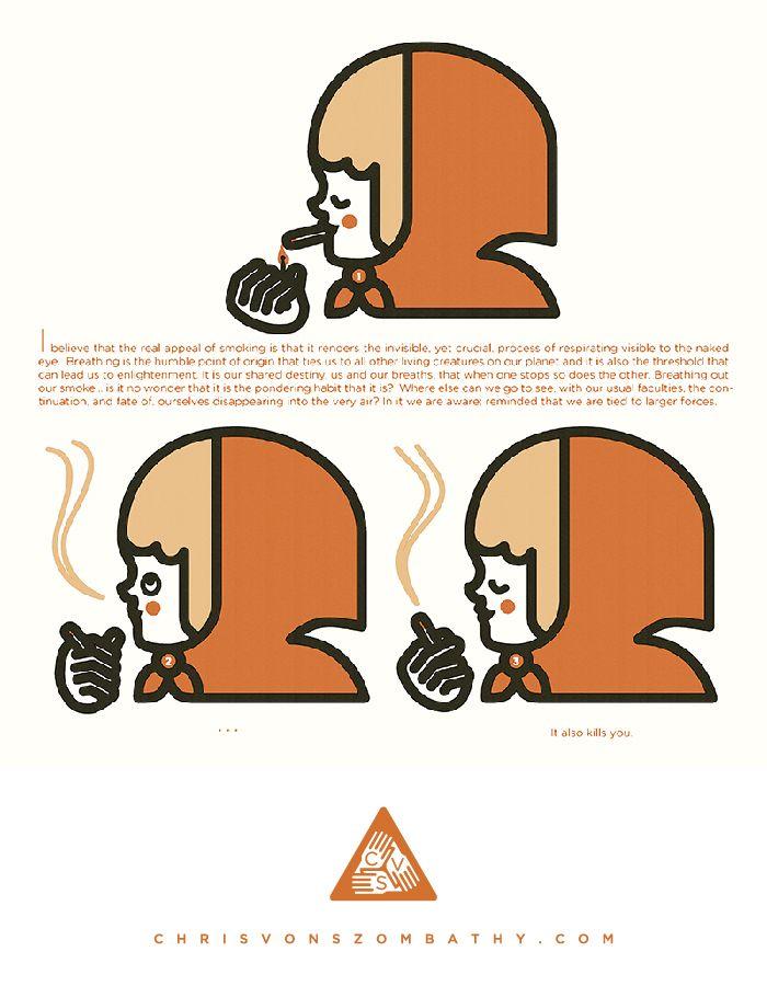 """""""Smoking"""" an illustration by artist/designer Chris von Szombathy."""