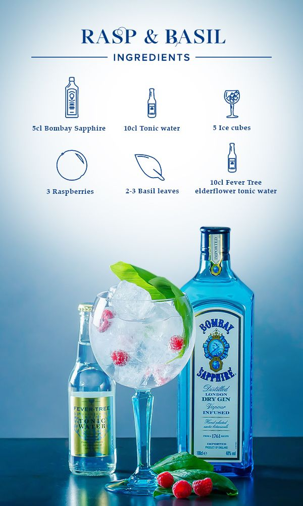 Rasp & Basil:  1. Fill glass with ice cubes, add 5cl Bombay Sapphire and top off with Fever Tree Elderflower (or Schweppes Lavander/Orange Blossom). 2. Garnish with 3 fresh raspberries and some basil leaves.
