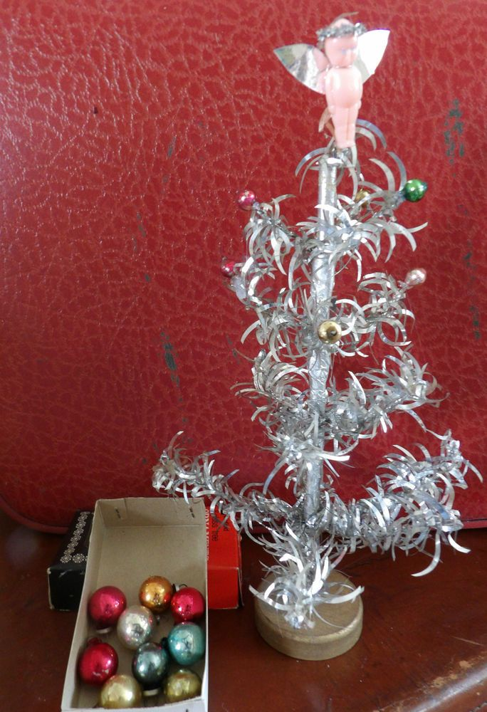 Vintage Small Silver Christmas Tree Glass Baubles
