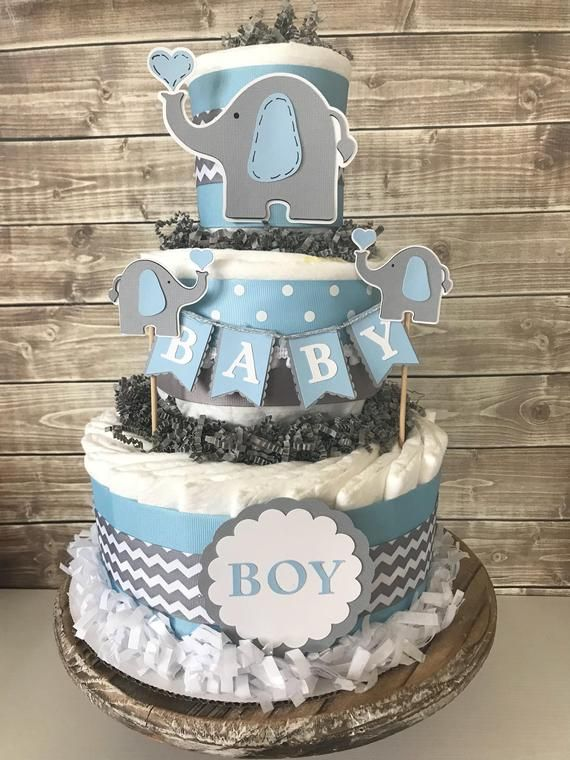 Elephant Baby Shower Diaper Cake in Blue and Grey, Elephant Baby Shower Centerpiece, Elephant Decorations – Baby Shower Gift