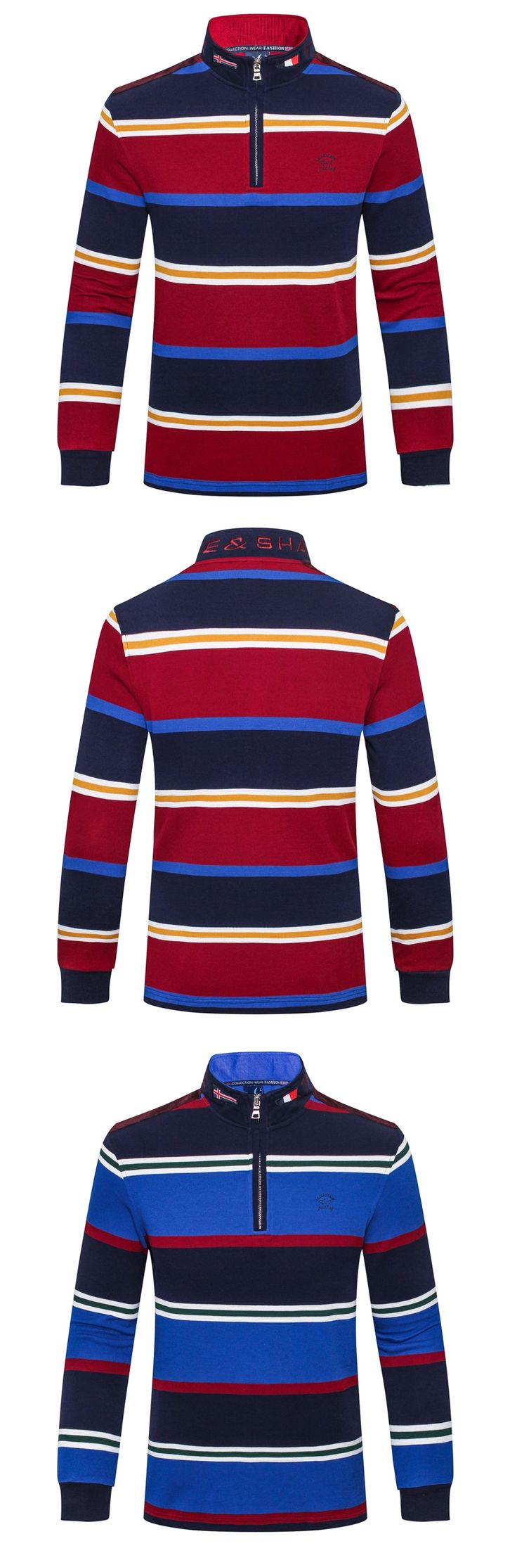 polo shirt masculina volkswagen billionaire polo shirt men Men zipper Stand collar embroidery stripe Long sleeves clothes Cotton