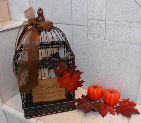 Fall Leaves Wedding Birdcage Card Holder / Fall door ThoseDays