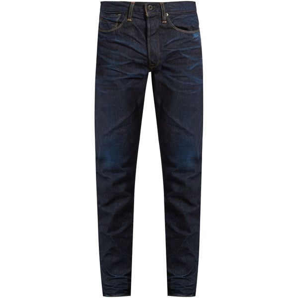 KURO Aulick slim-leg jeans ($95) ❤ liked on Polyvore featuring men's fashion, men's clothing, men's jeans, navy, old navy mens jeans, mens faded jeans, mens slim jeans, mens slim fit jeans and mens slim cut jeans