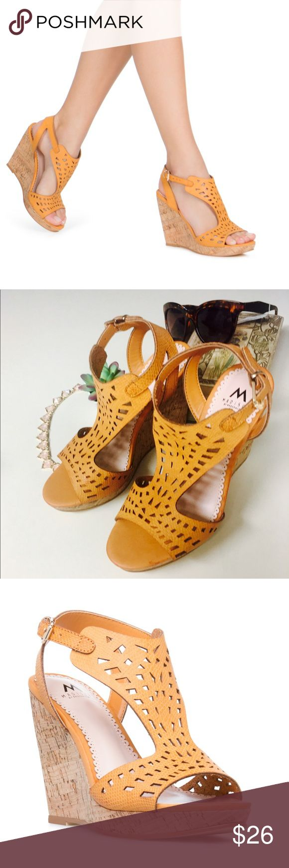 Shoedazzle-Madison line Valdria cork style wedge💕 ❤️Madison line by Shoedazzle- 4inch cork style wedge-perfect for the coming months to get that beachy summer chic look😍. This color has hints or darker tan/orange throughout ( yes I checked to make sure it was intentional and not a flaw-see picture #4). These wedges are adorable!!perfect with shorts and a bikini top. They have been tried on but never worn. Bundle to get that 20% discount! ( sunglasses in the background are NWTs Tahari-will…