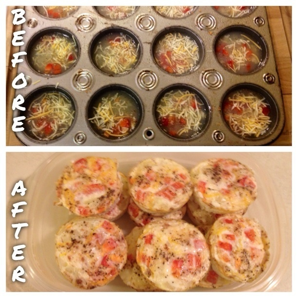 Healthy egg muffins. Egg whites, bell peppers, onions, cheese, bacon bits, salt, and pepper. Grease muffin tin first! Place ingredients in muffin tin. Pour in egg whites. Place in over for 15 mins at 375 degrees.