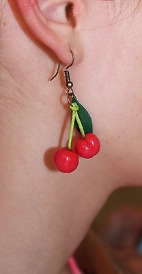 Red Cherry Earrings / Handmade / Polymer clay