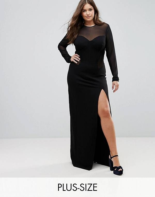 TTYA BLACK Plus Corset Mesh Insert Maxi Bodycon Dress | My Personal ...